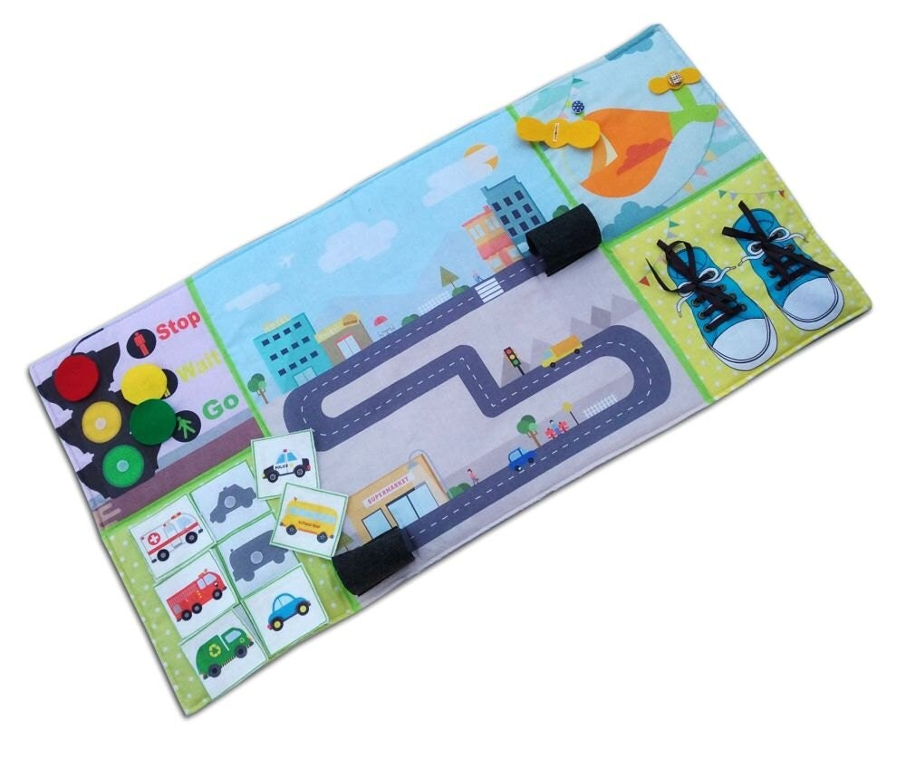 Play Mat Busy mat Felt Play Mat quiet book Activity play or Play Mat Panel Mat Toy Car mat toy car play mat Activity play Gift boy