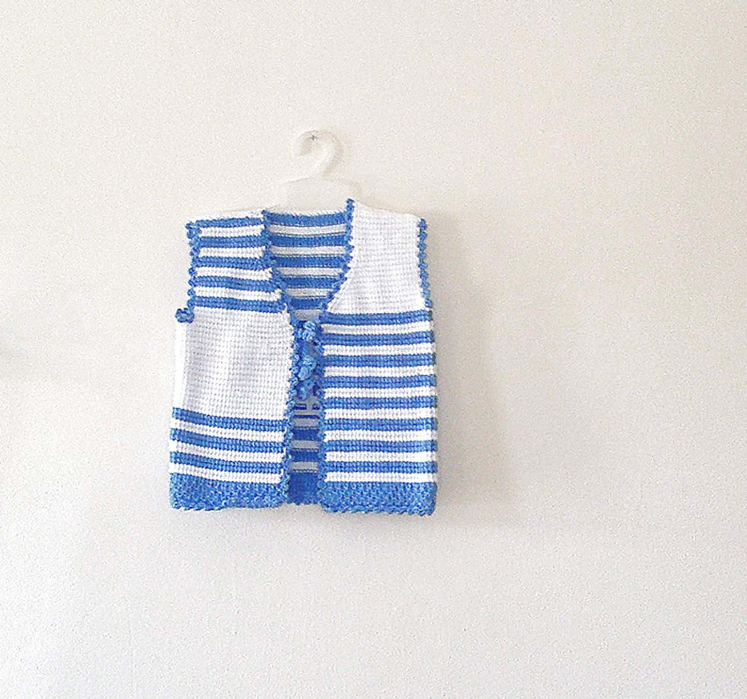 Tunisian crochet  baby boy vest, bolero, white blue striped, for 2 -3 years, gift for children - KnitterPrincess