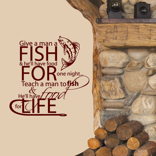 Wall decal teach a man to fish food for life by stickitthere for Teach a man to fish bible verse