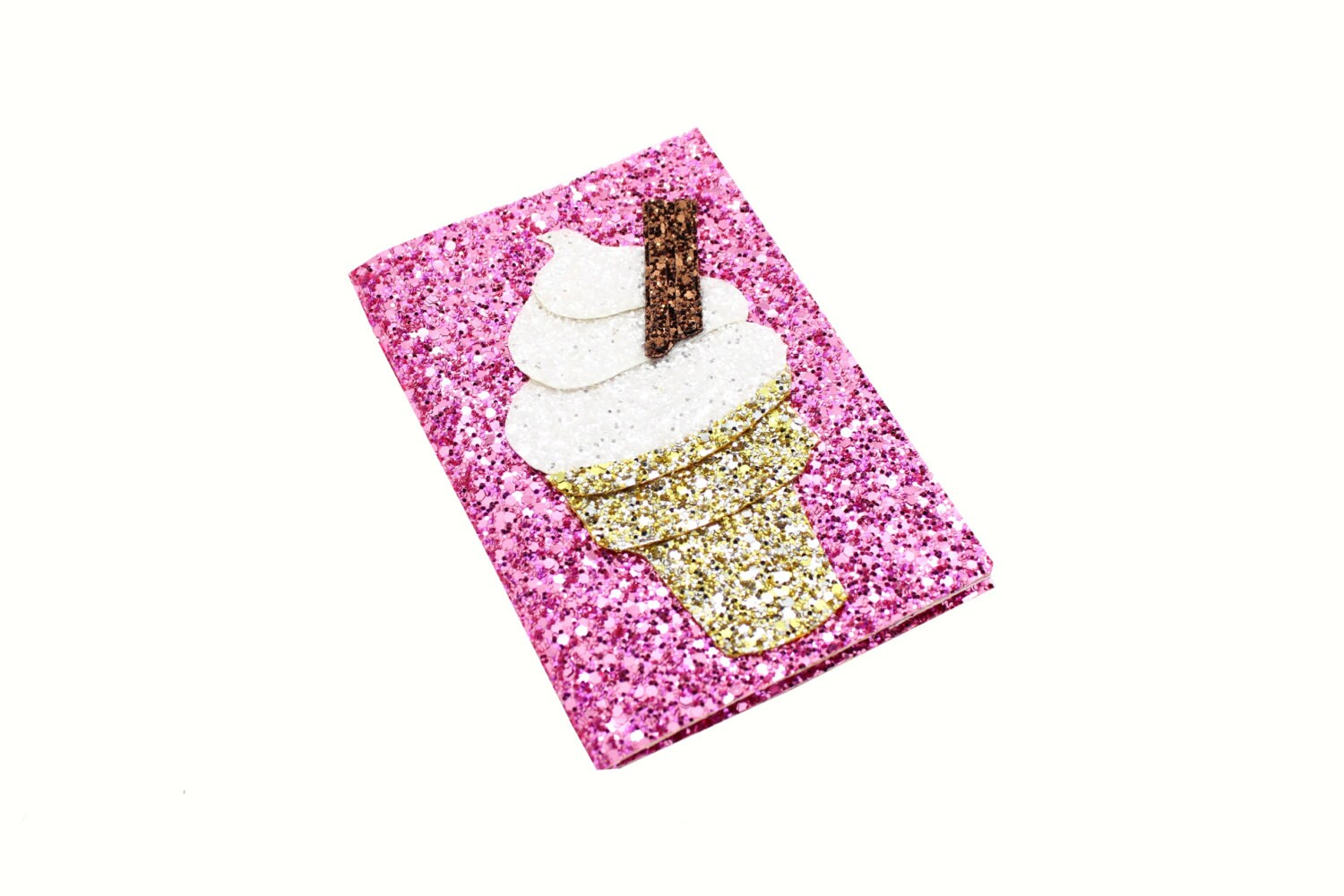 Ice Cream Passport Cover Pink Glitter Fabric Wallet Travel Gift
