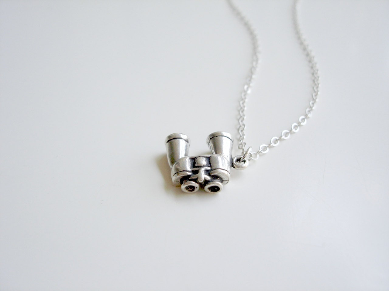 Suzy - Tiny Sterling Silver Bird Watching Binoculars Necklace, Moonrise Kingdom by Emeline Darling - emelinedarling