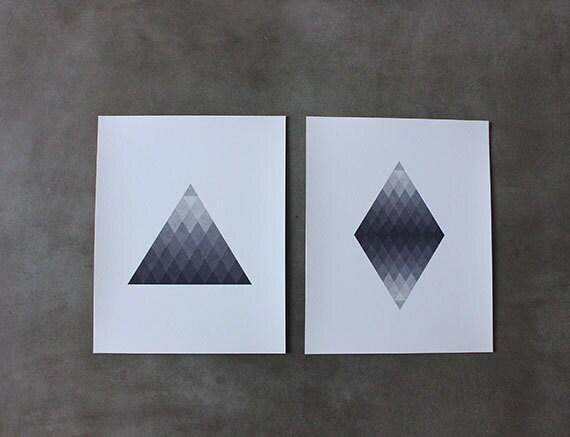 Triangle and Diamond Grade Set of 2 8 x 10 Art Prints