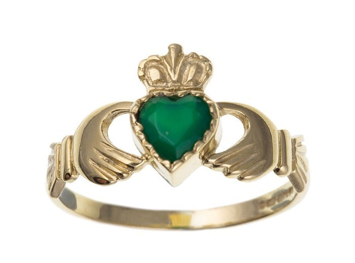 Claddagh Ring 9ct Yellow Gold with Green Agate Heart (CL9)