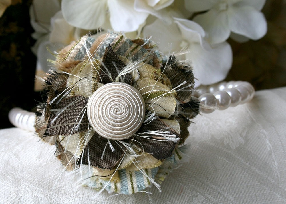 Preppy Floral Pearl Headband in Ivory White, Chocolate Brown and Blue