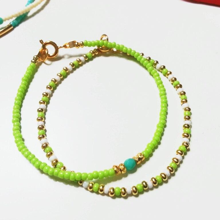 Dream Bracelet in Chartreuse Dainty Modern Minimalist Friendship Bracelet - SepheneJewelry