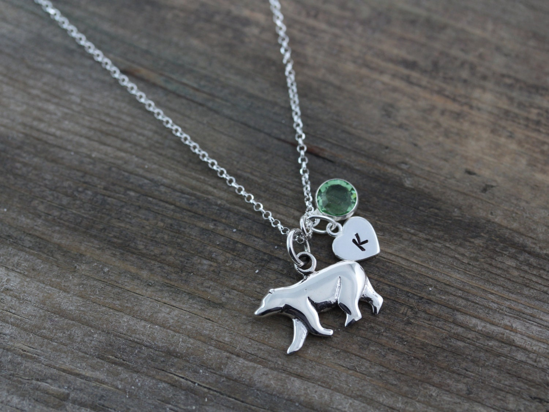 Sterling Silver Bear Necklace Polar Bear Pendant By