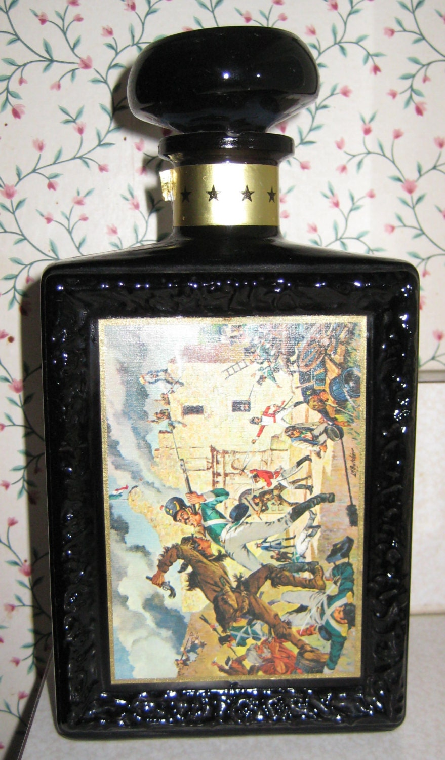 JW Dants Kentucky Whiskey Black Glass Bottle Great Moments In History/ No Contents - PSSimplyVintage