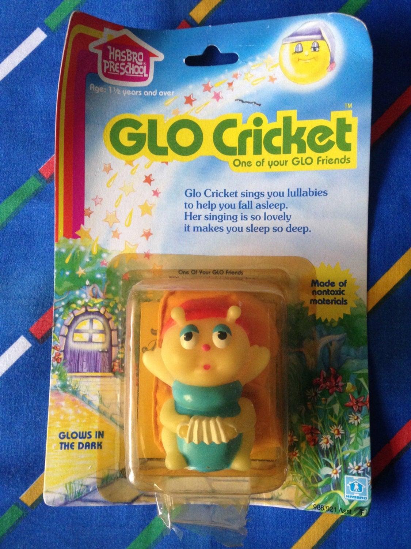 Vintage Glo Friends CRICKET glow in the dark worm bug finger puppet sleeping bag toy 1980s 80s 1984 Hasbro Preschool MOC Mint Condition MIB