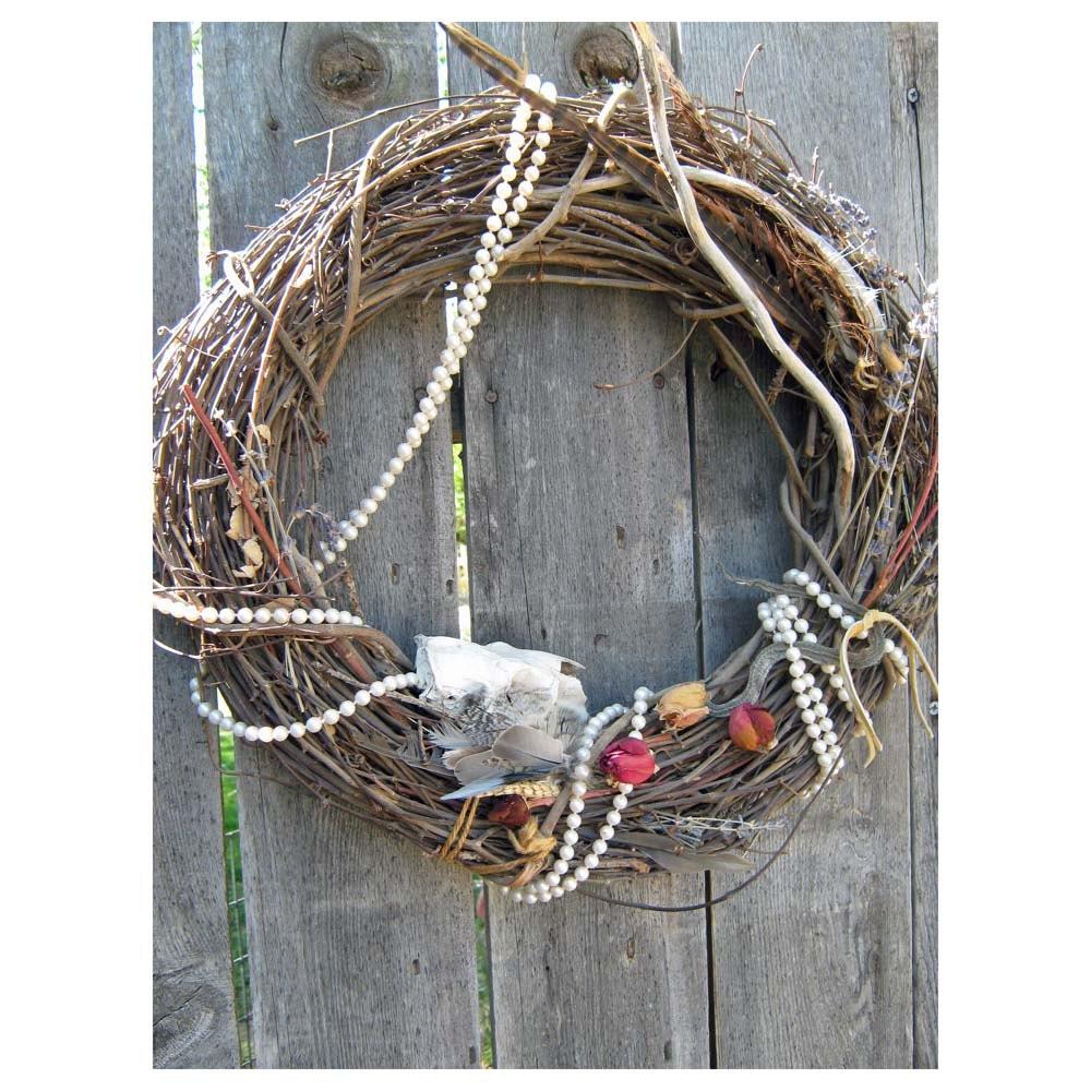 Idaho Door Wreath - SKULL And SNAKE With Pearls - HomeIdaho