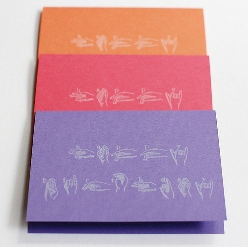 Happy Birthday Sign Language Card Set Of 3 By Jessicagm On