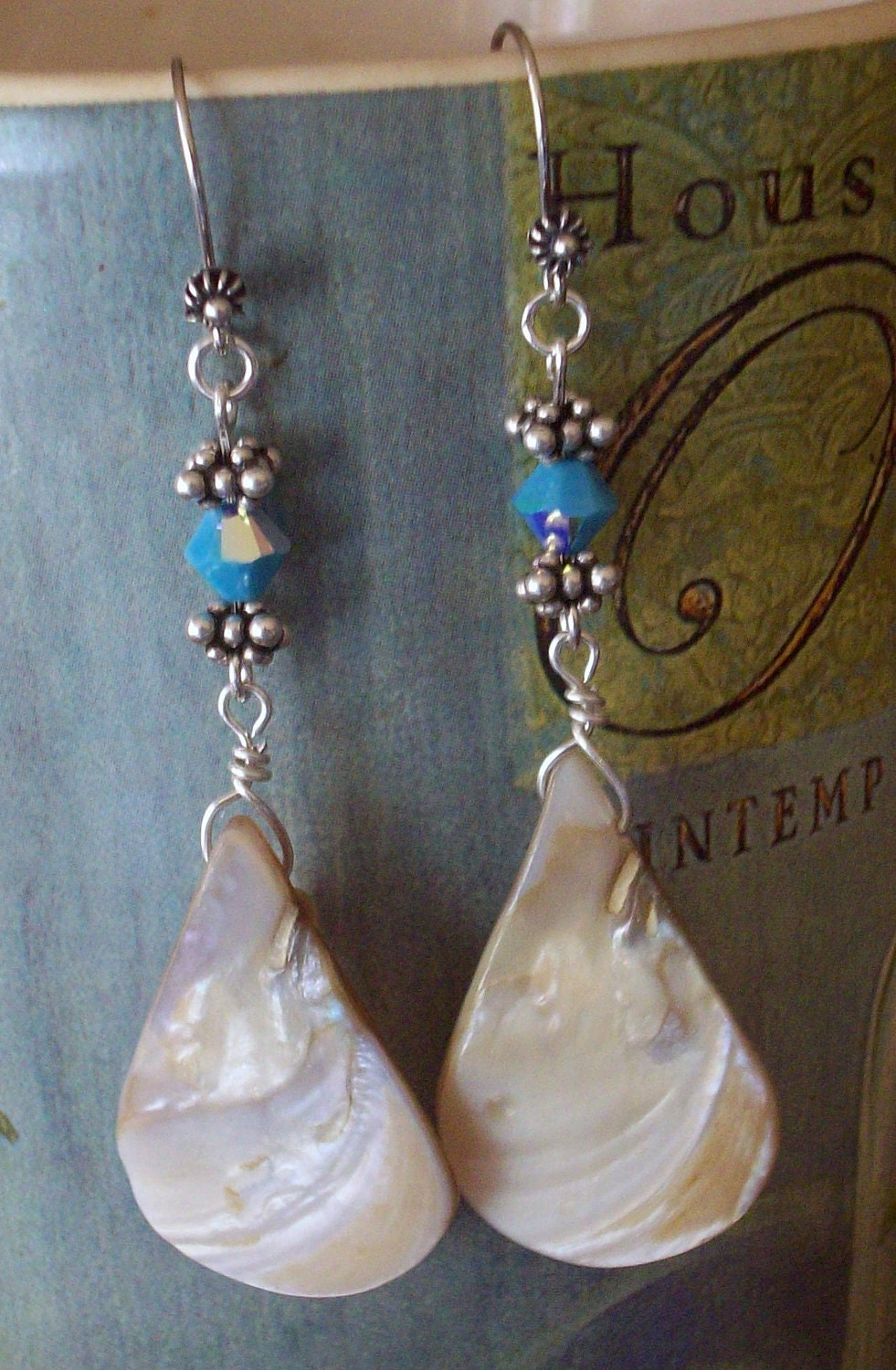 Sale 30% Off-Unique large Shell Teardrop and Swarovski Crystal Earrings