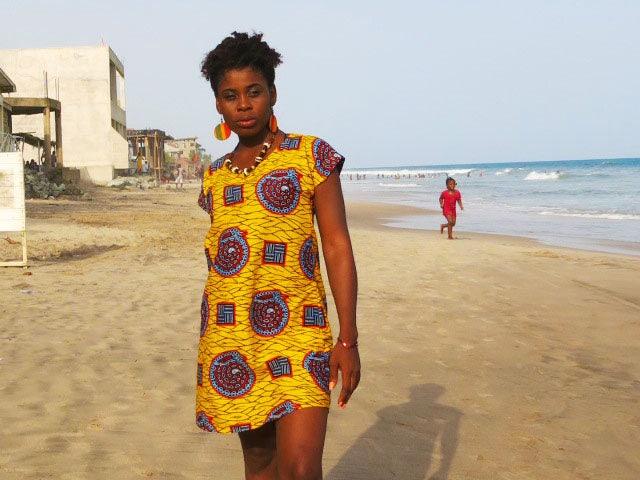 Snails and Ladders Dress  Tshirt Dress  African Print Dress  Festival dress  Summer dress  Yellow  Patterned dress