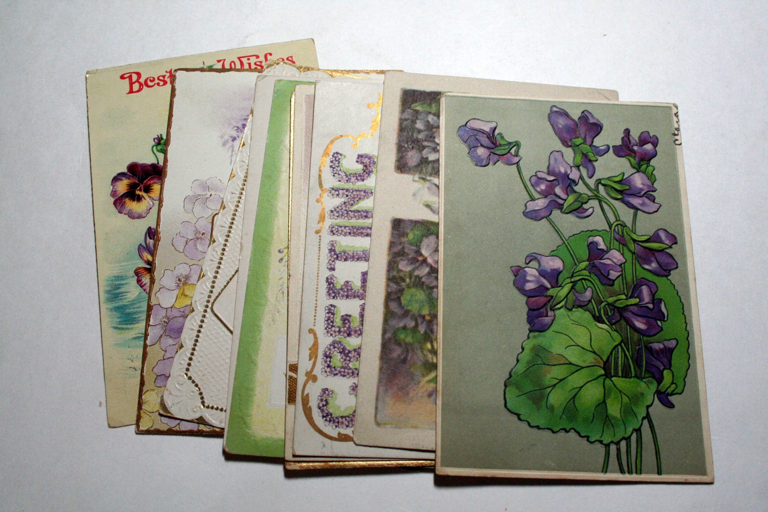 10 Early 1900s Greeting Postcard Assortment - Shades of Purple
