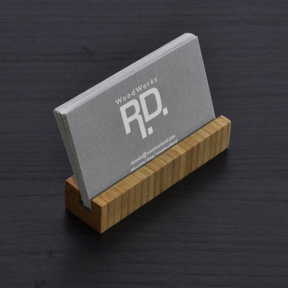 Business Card Holder Bamboo Long Version By Woodworksrd On