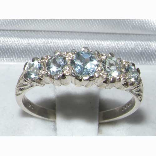 English Natural Aquamarine 9K White Gold Vintage Style Half Eternity Band 5 Stone Classic Stackable Carving Ring  Customizable
