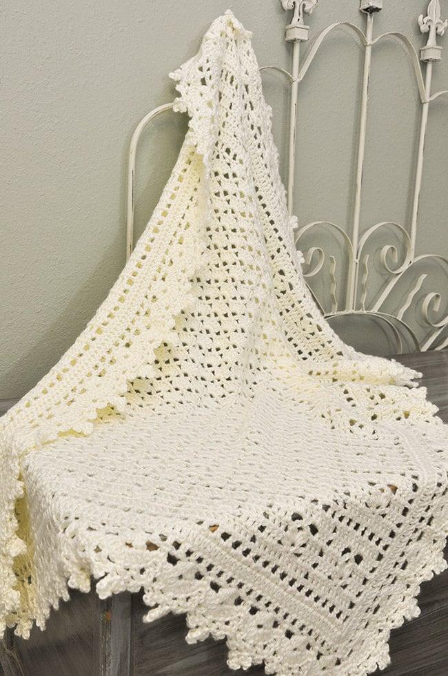 Crochet Baby Blanket Cream Lacy Heirloom by CuddleBugCrochet
