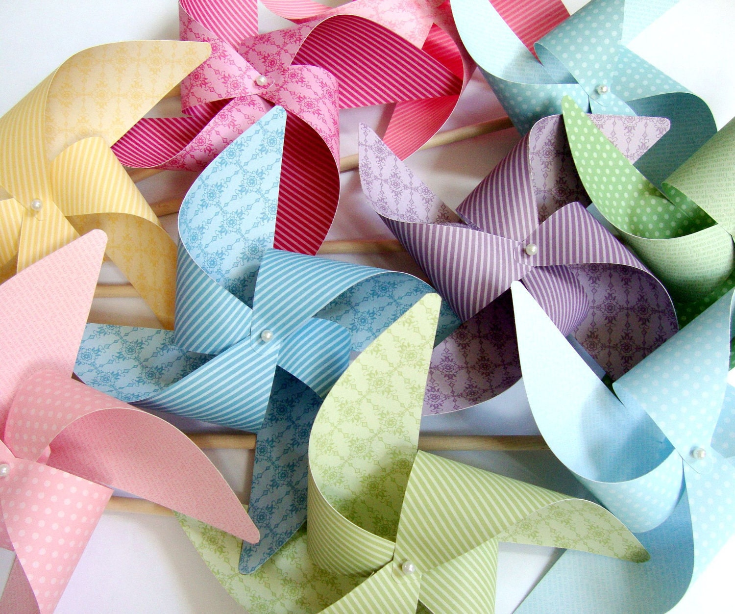 Pinwheels Subtles YOU PICK the COLORS set of 8 Large Pinwheels