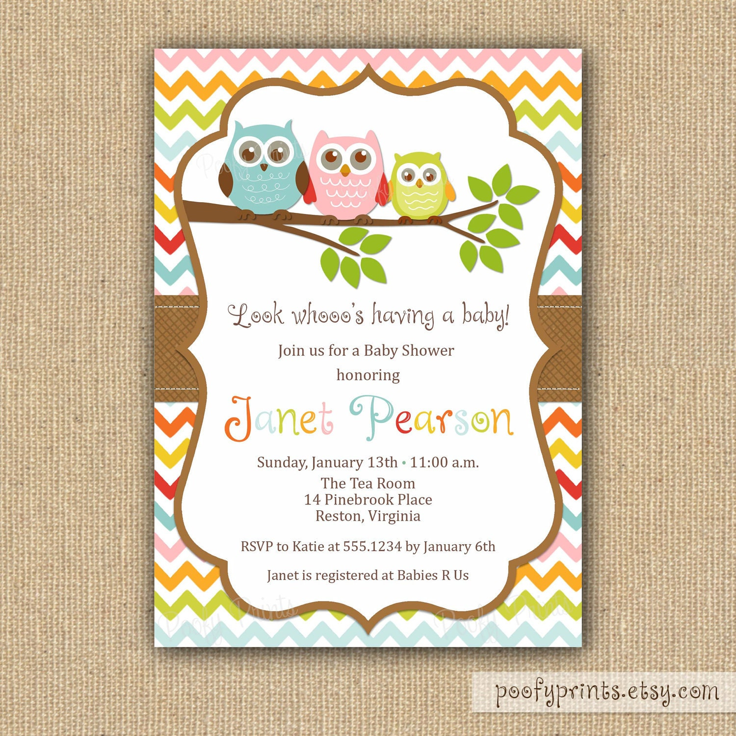 owl baby shower invitations diy printable by poofyprints on etsy