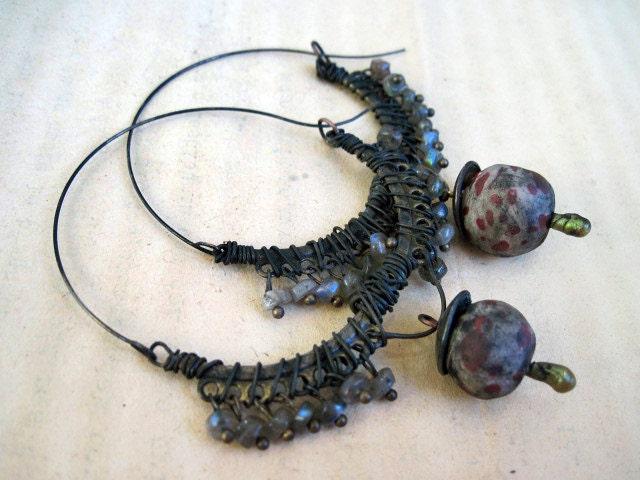 Tribal semi-circle hoops with labradorite gemstones and polymer art beads.