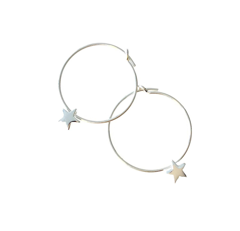 Star Hoop Earrings Small Hoop Earrings Sterling Silver Hoop Earrings Teen Earrings Small Hoops Cute Earrings Daughter Earrings Silver Stars
