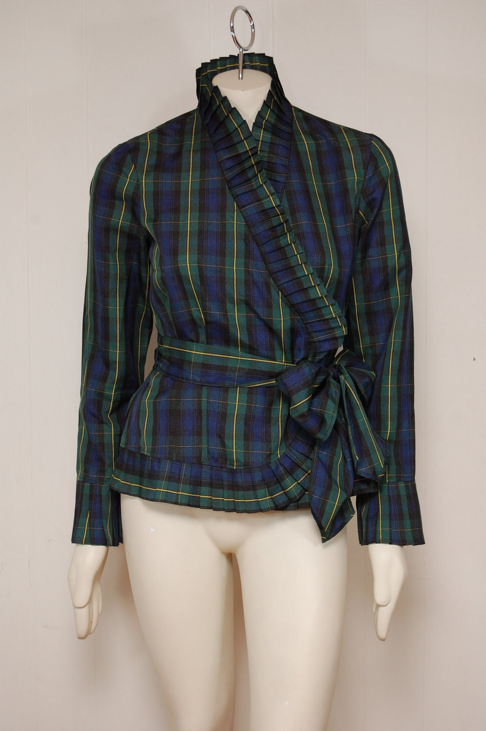 Green and Blue Tartan Plaid Wrap Blouse