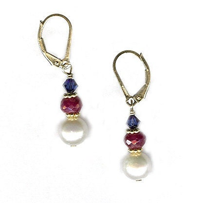 Faceted Ruby Earrings with AA Pearl