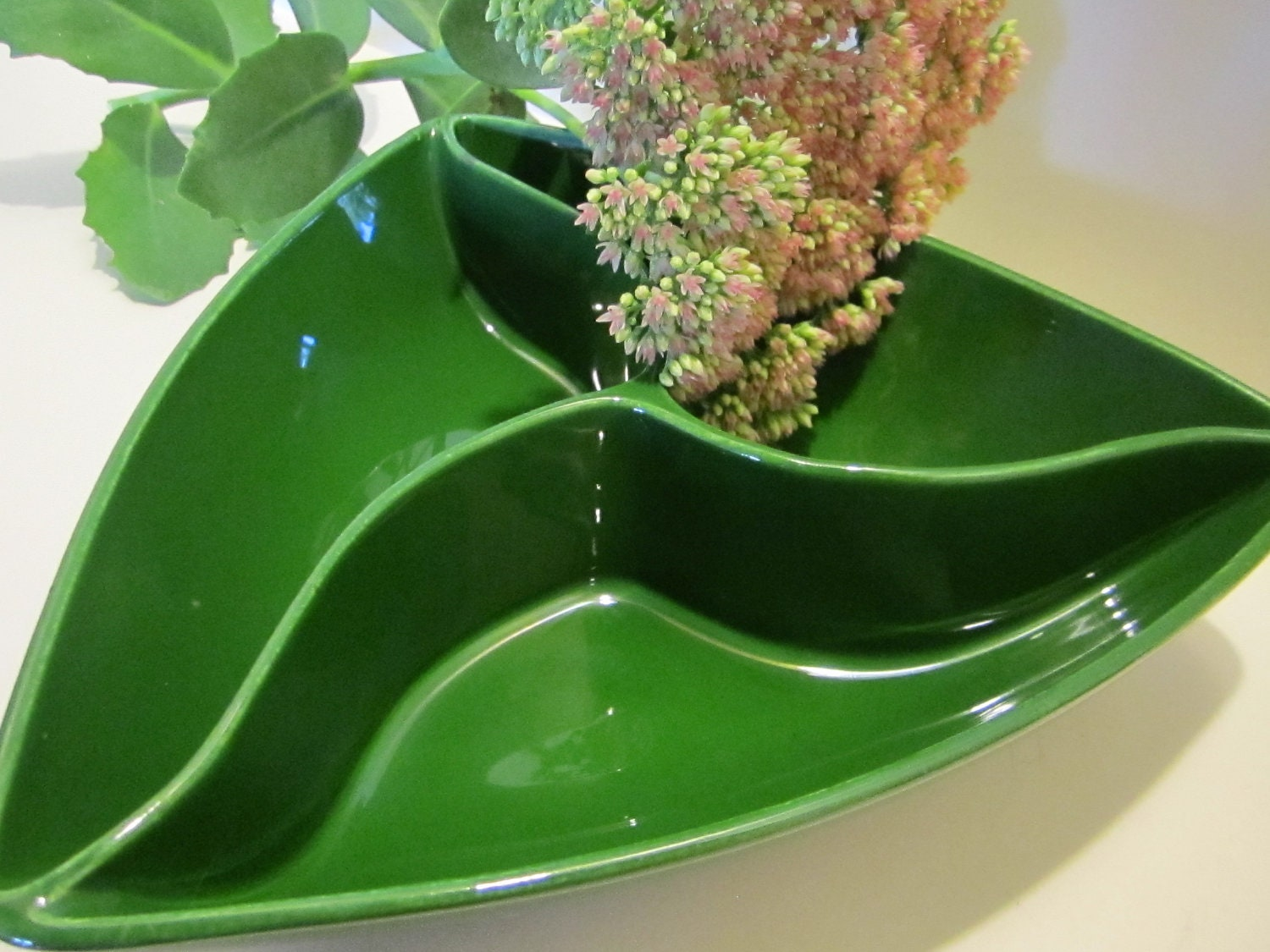 Mid-Centry Modern Green Triangle Divided Serving Dish