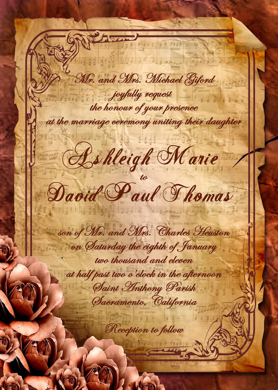 Vintage Rose Victorian Sheet Music Wedding By Inkdbykate On Etsy