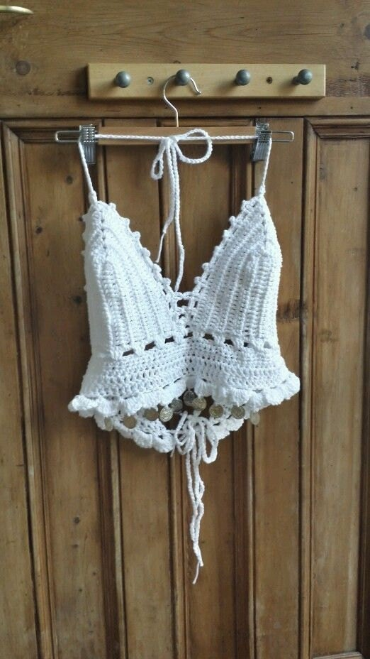 Womens clothing crochet bra festival top crochet bralette boho lingerie hippie crop tops white halter neck summer top Dolly Topsy Etsy UK