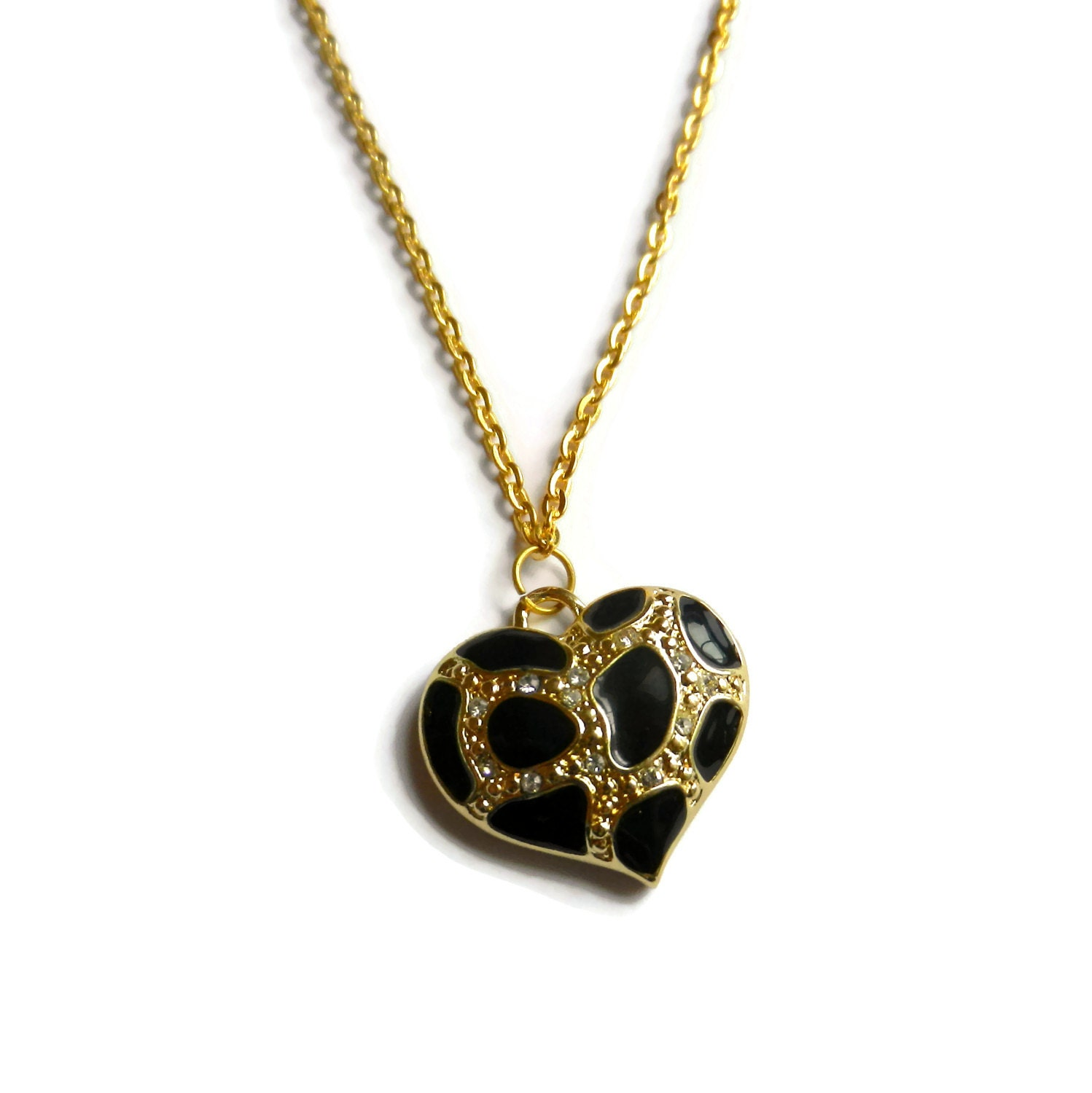 items similar to leopard print charm necklace gold