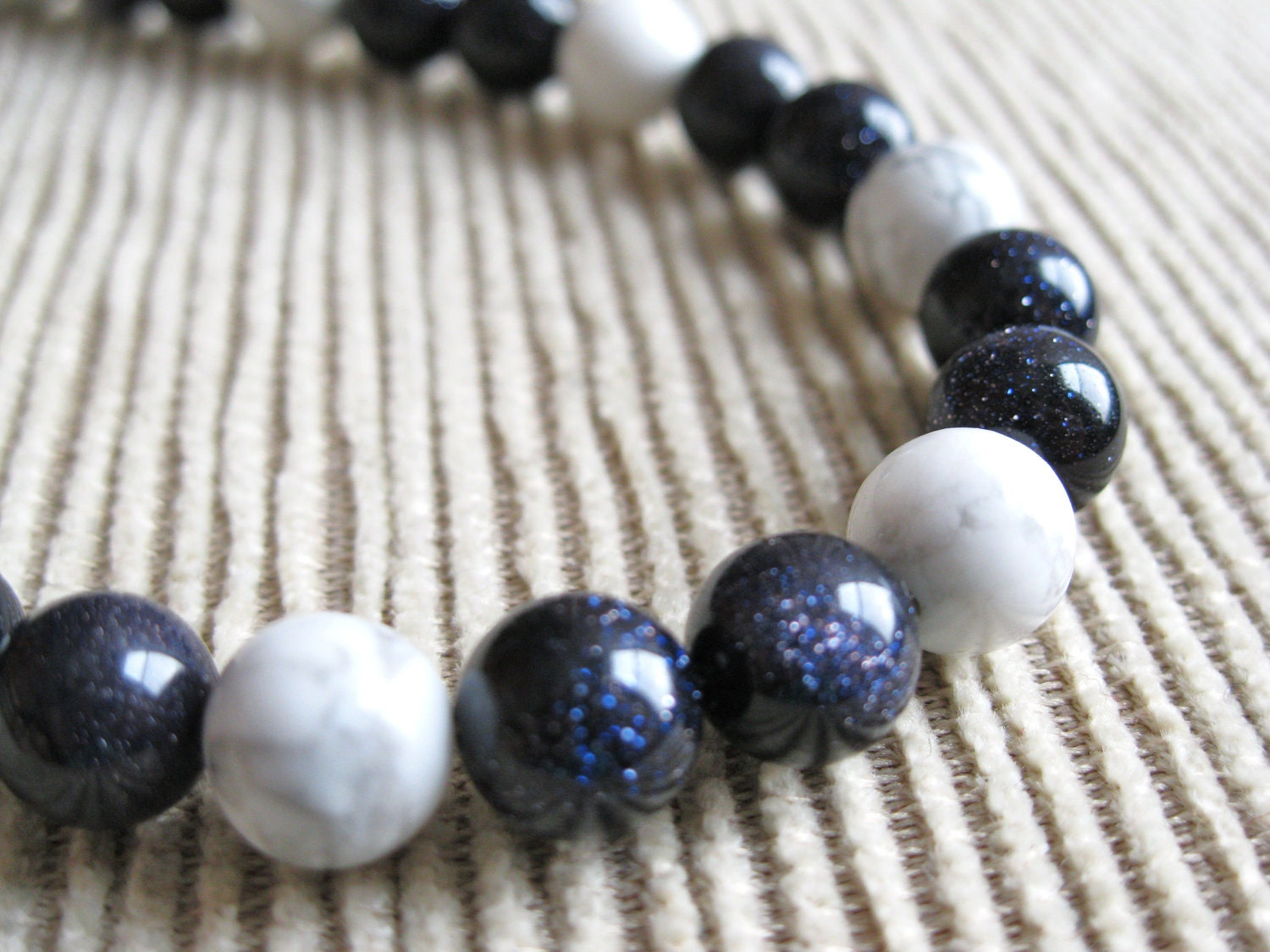 Blue Goldstone Howlite Necklace - Blue Goldstone, White Howlite, Nautical