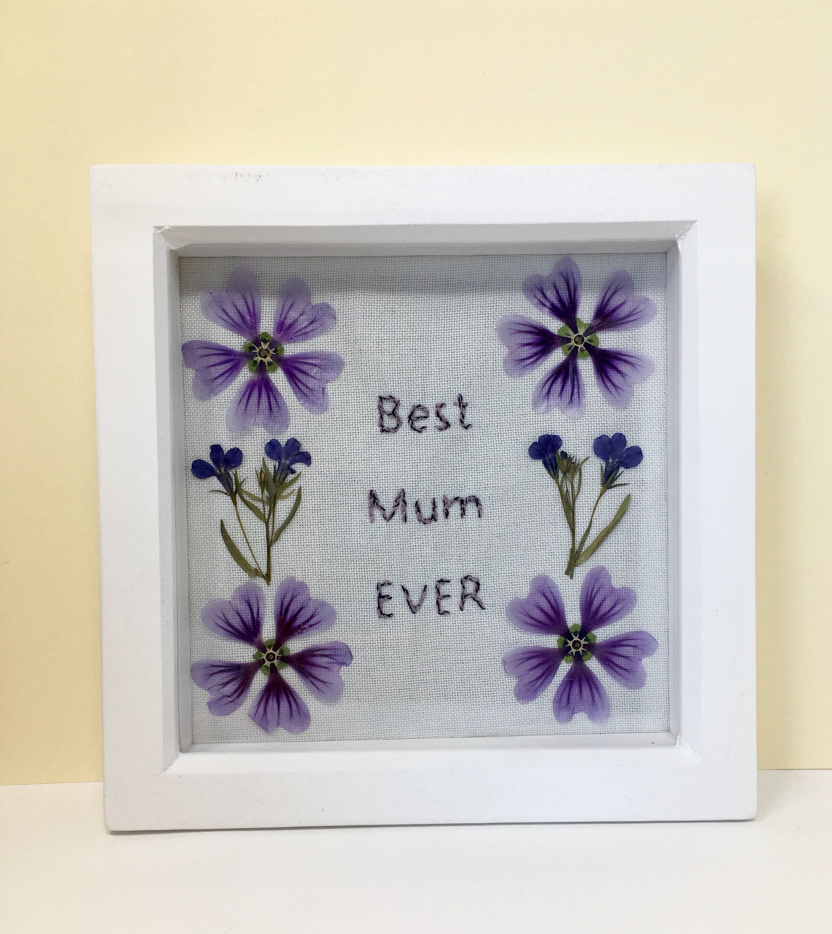 Image of Handmade Mothers Day Birthday gift for Mum Pressed flowers Flower art Box frame Wall dcor Dried flowers Gift for Mum