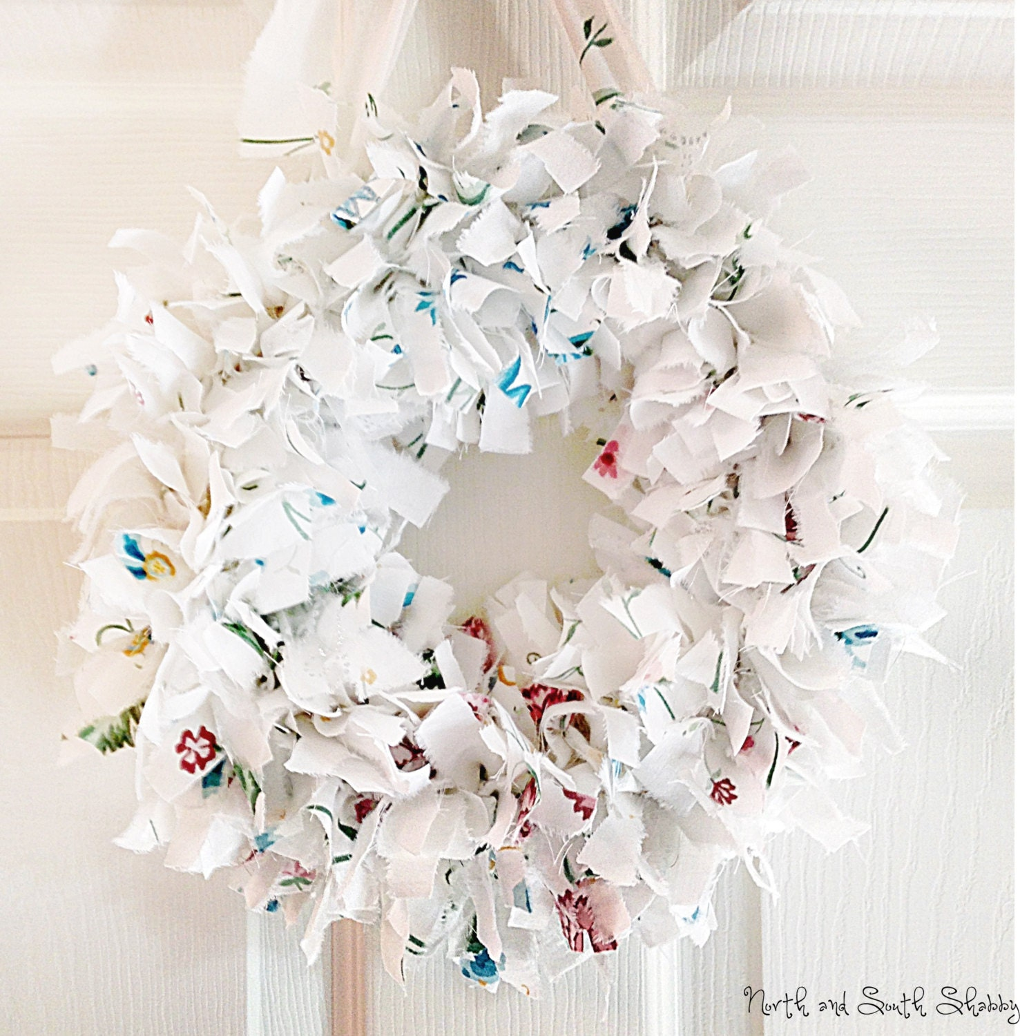 Shabby White Rag Wreath Wall Decor, Table Centerpiece, Home Decor - northandsouthshabby