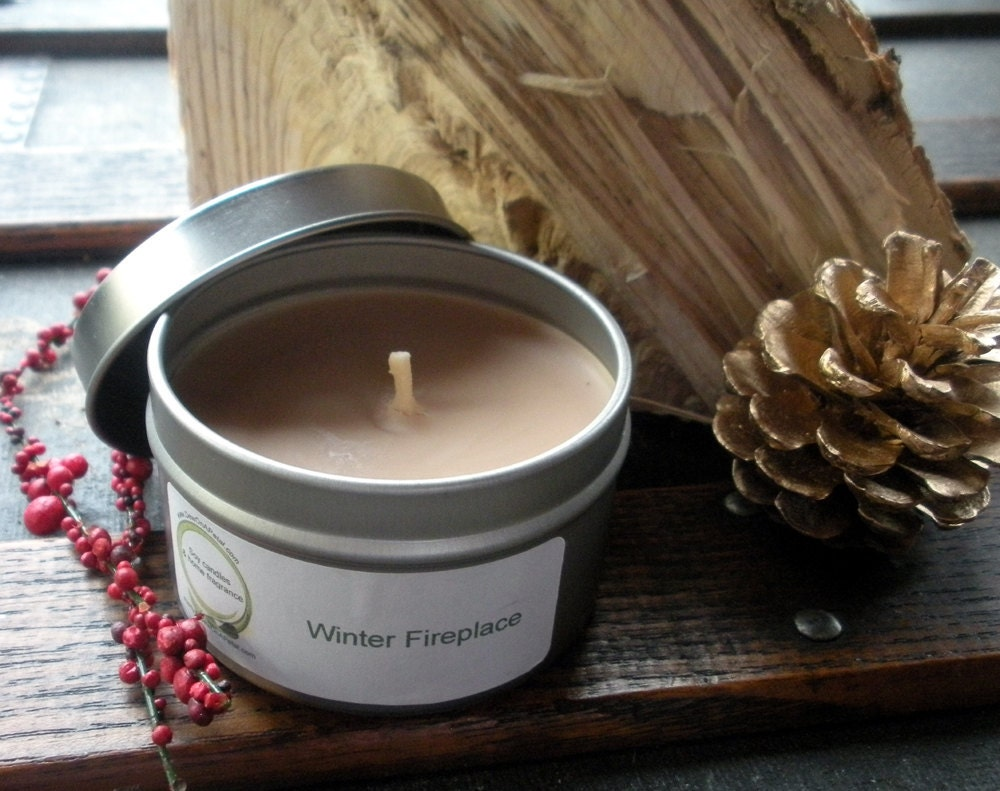 Fireplace Soy Candle, Travel Tin, Wood Fireplace, Winter Fire - DewOnAPetal