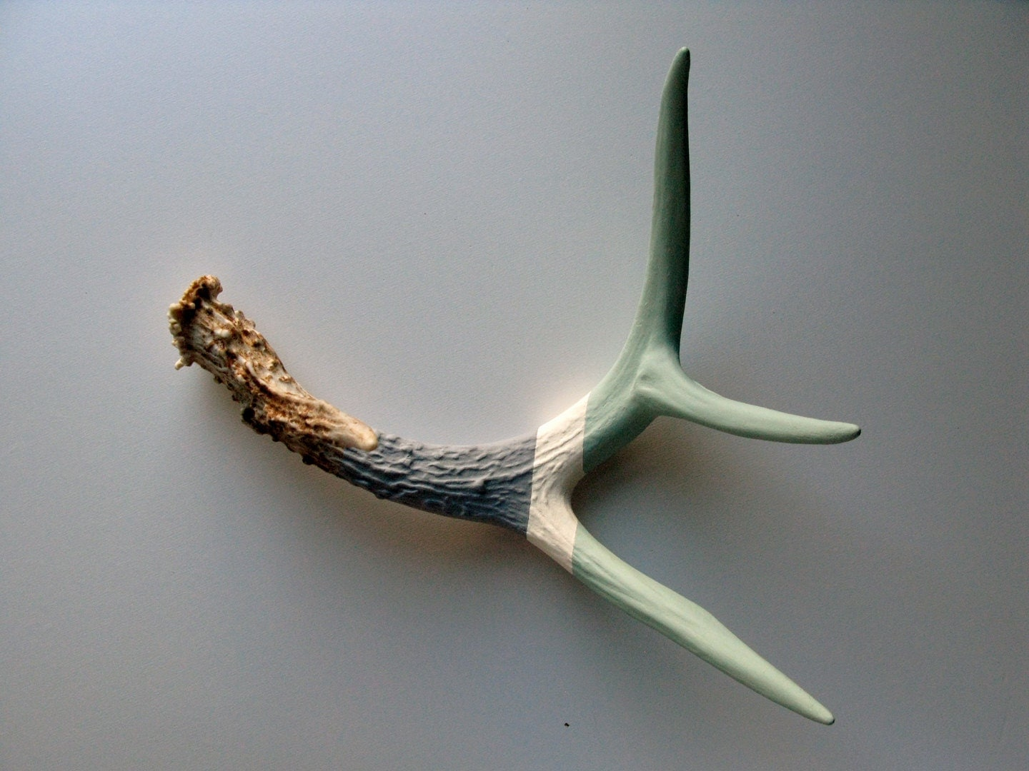 Seafoam, White & Gray Striped Painted Antler - Medium