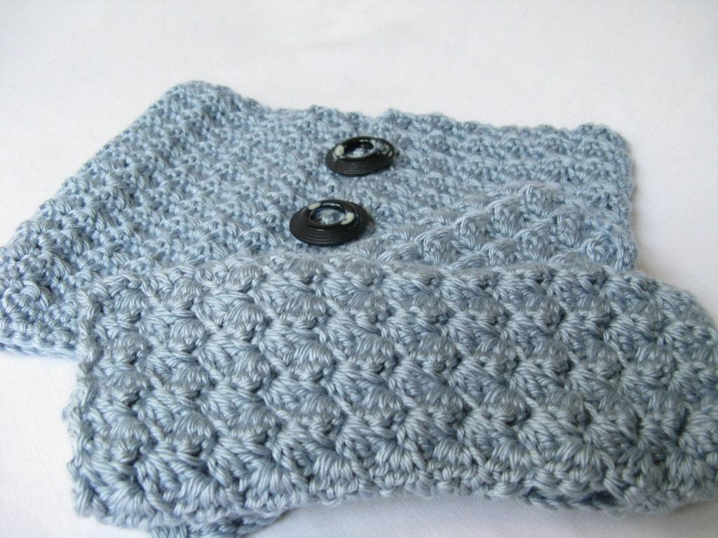 Ripples Crochet Wrist Warmers and Neck Warmer Pattern Set - Blue