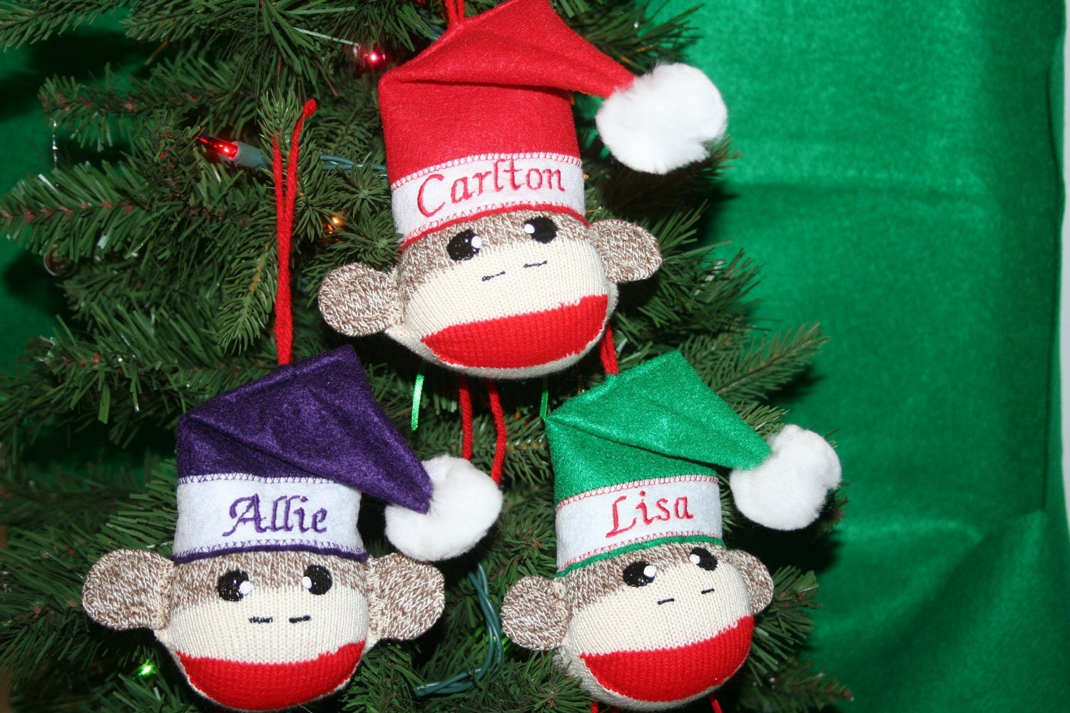 Handmade SOCK MONKEY BALL Personalized Christmas Ornament
