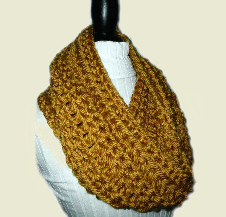 Knitting Pattern For Infinity Scarf With Bulky Yarn : GOLD INFINITY Scarf Cowl Long Knit Chunky by 2SistersHandmade