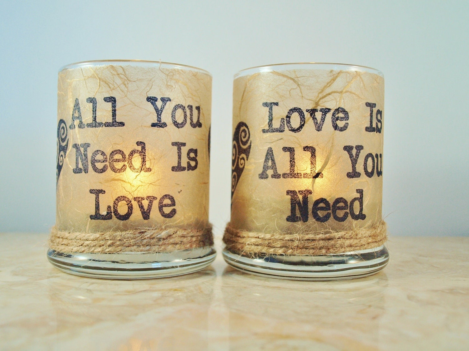 "2 Candle Holders ""All You Need is Love"" Beatles, Valentine Gift, Rustic Wedding, by Green Orchid Design Studio - GreenOrchidDS"