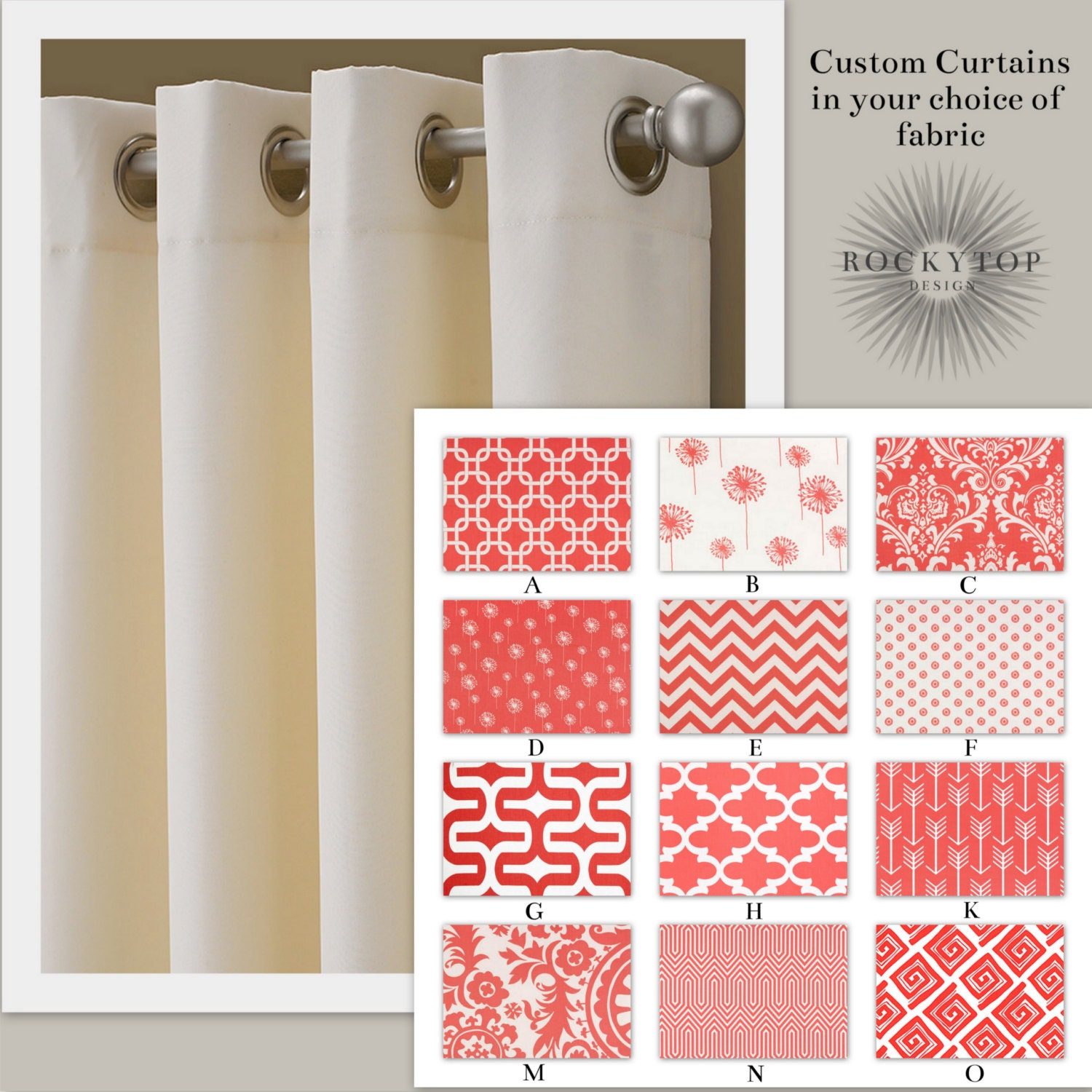 Coral and white curtains