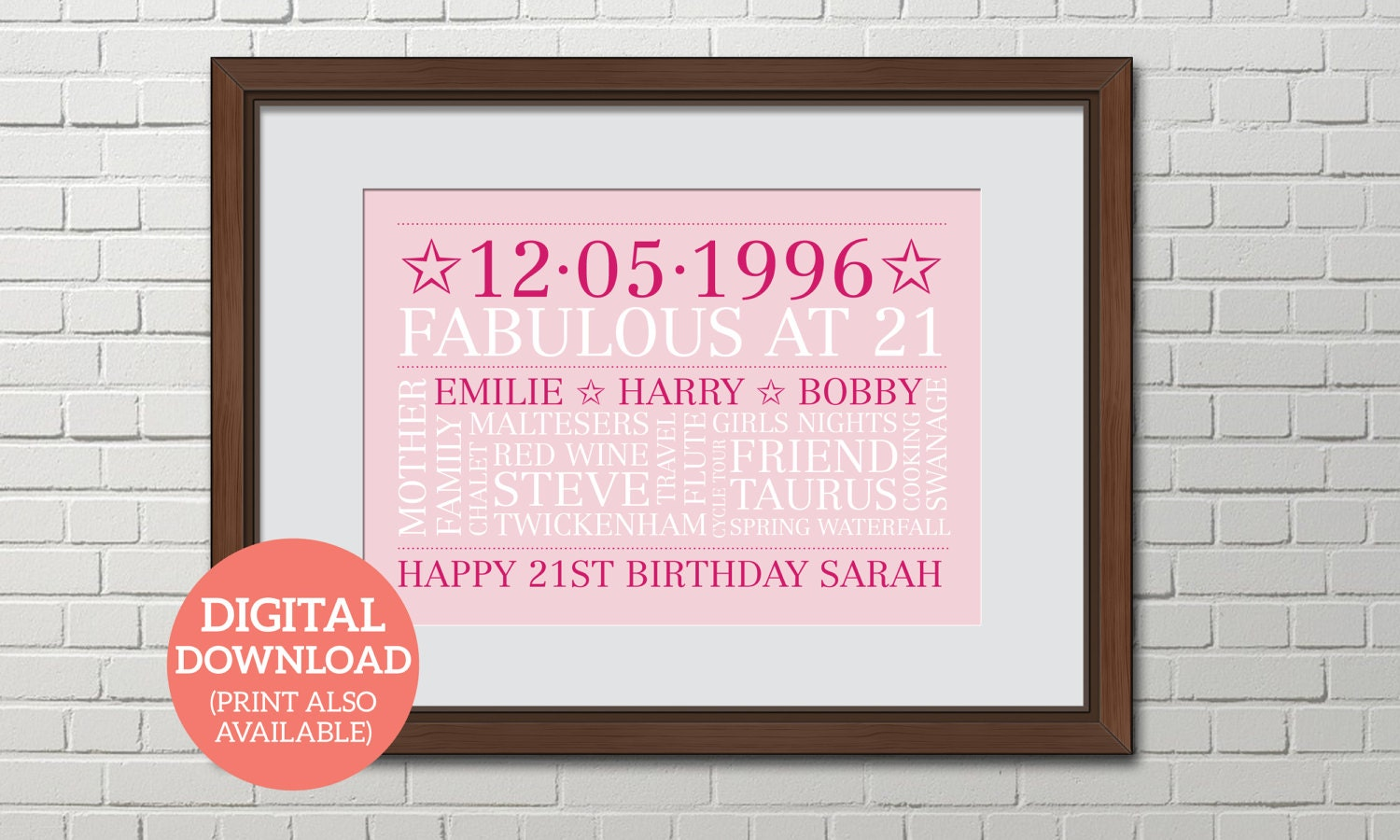 Birthday Word Art Personalised Word Cloud Poster DOWNLOAD Unique gift Special 21st Birthday BD212