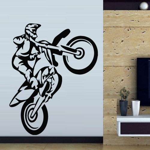 Wall decal art decor decals sticker bedroom by decorwalldecals for Dirt bike wall mural