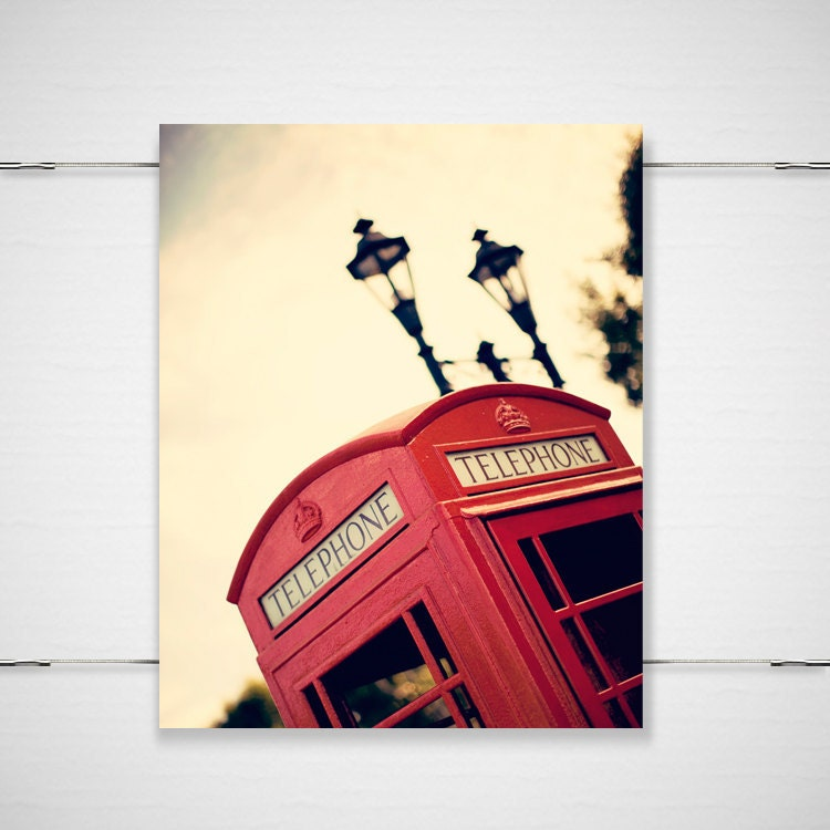 London Style Photography - Ello Govna - 8x10 photograph print red telephone crown lamp post london travel europe wall art decor keep calm - BokehEverAfter