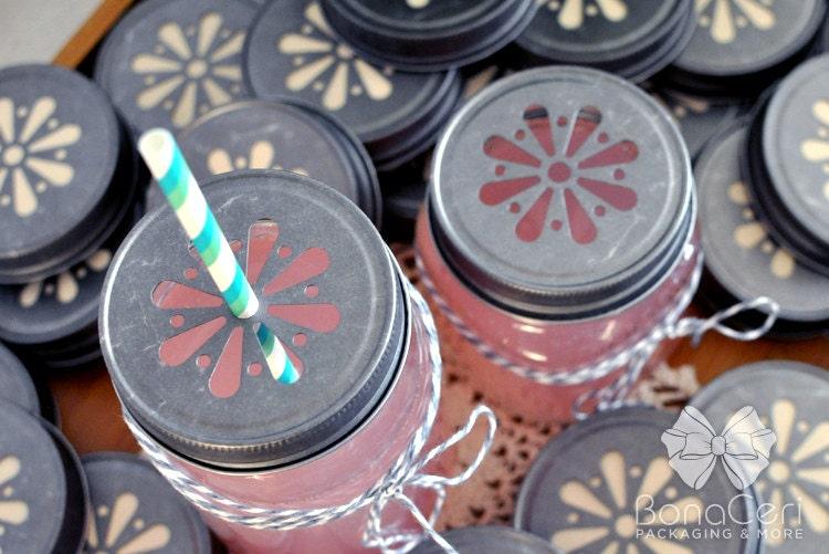 12-Antique Daisy Cut  Mason Jar Lids