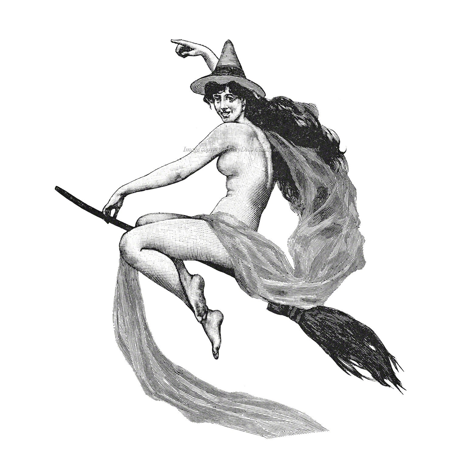 Naked Witch On Broom