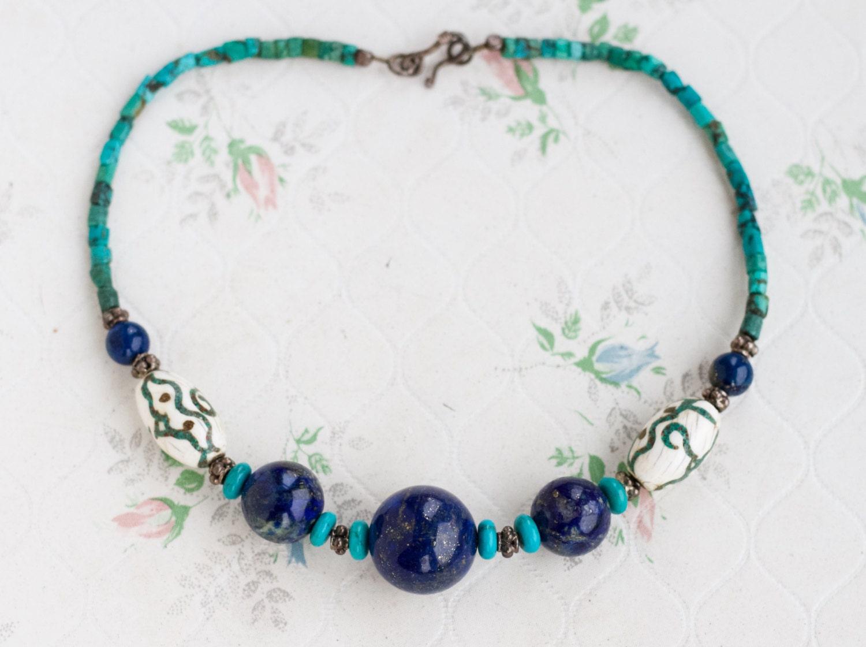 Lapis Lazuli Short Necklace  Turquoise and Carved Bone Beads  Vintage Boho Jewelry