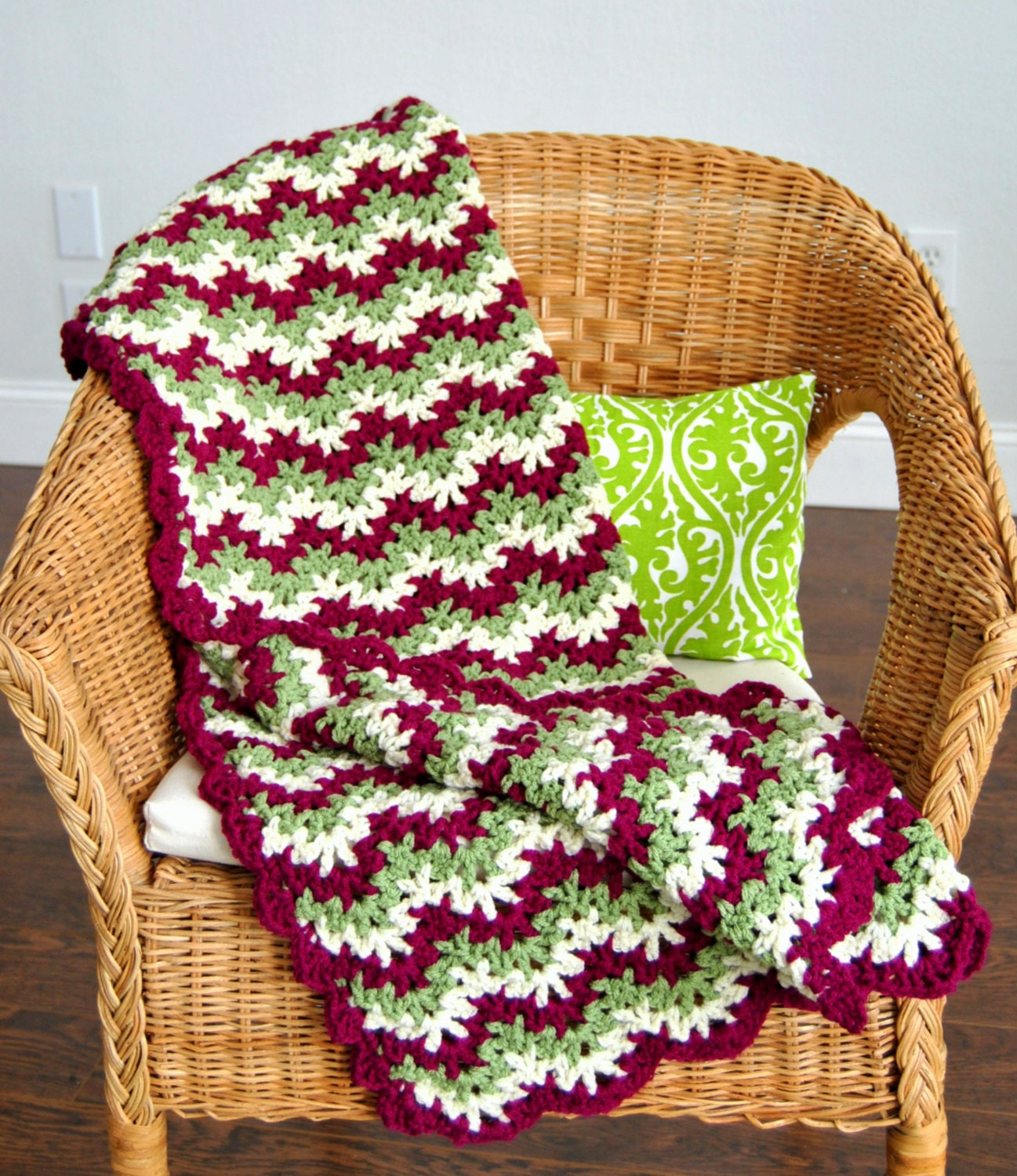 Crochet Zig Zag Baby Blanket : Green Pink and Cream Crochet Zig Zag Baby Blanket by maybematilda