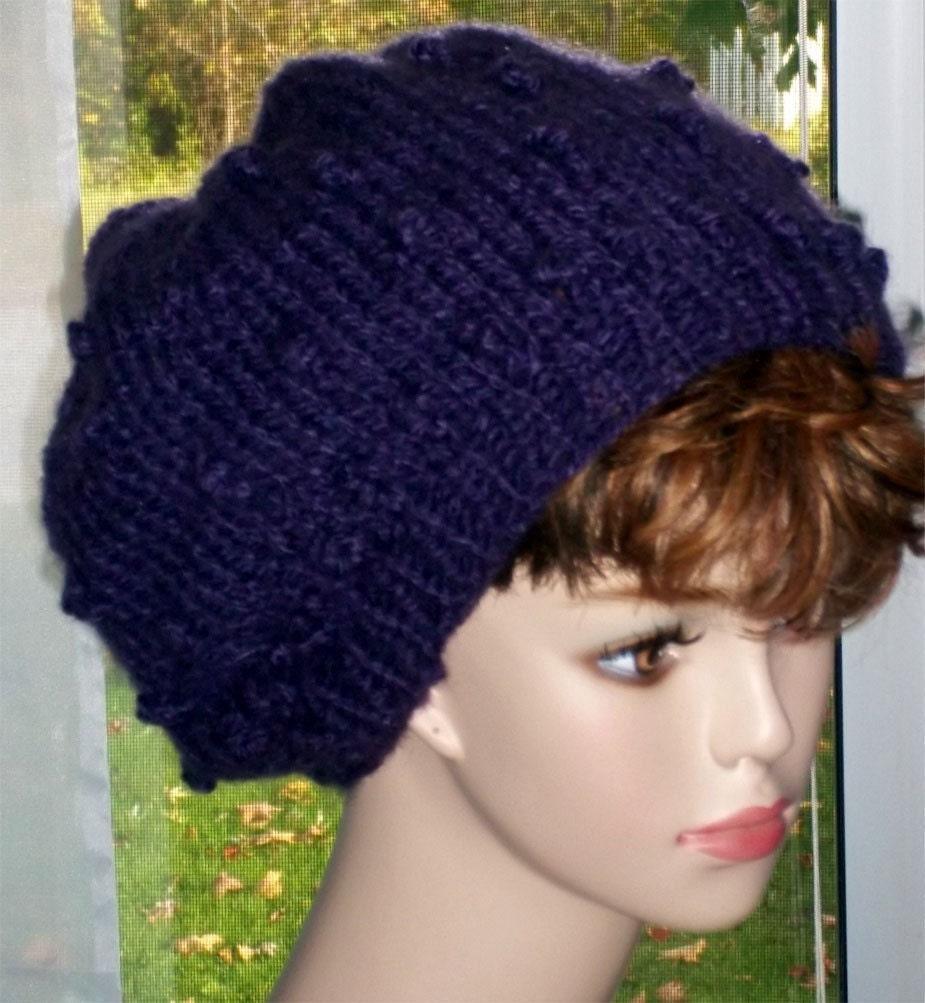 Bobble Stitch Knit Hat Pattern : Pattern Slouch Hat Knit Bobble Stitch PDF by KnittingOleBag