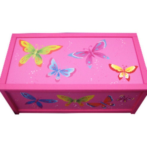 Personalized Butterfly Toy Box  Handpainted  Personalised Girls Storage Box  Nursery Decor  Pink White
