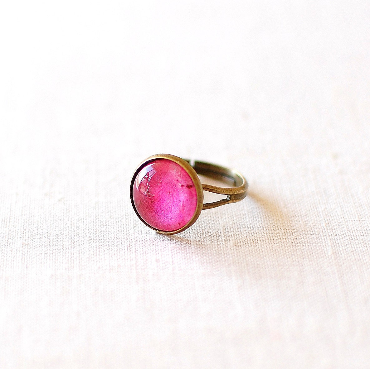 Ruby Ring, Hot Pink Adjustable Glass Dome Ring. - JujuTreasures